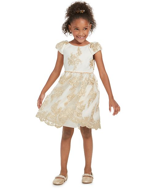 Rare Editions Toddler Girls Scalloped Embroidered Dress
