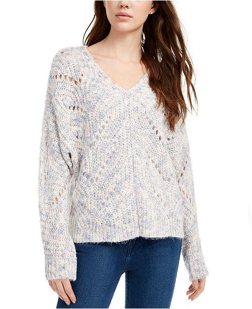 Pink Rose Juniors' Pointelle Sweater