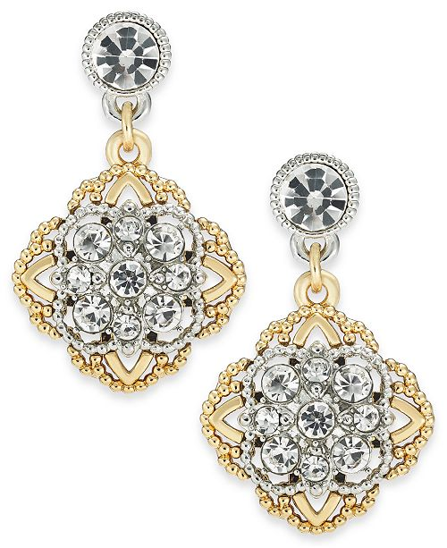 Charter Club Two-Tone Crystal Palazzo Drop Earrings, Created for Macy's