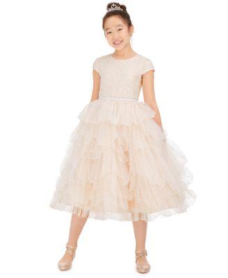 Kids Girls Black Skater Dress Party 3//4 Sleeves Fashion Dresses With Free Belt