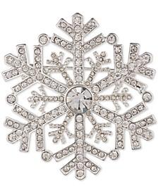 Silver-Tone Pavé Snowflake Pin