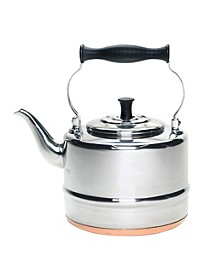 Stainless Steel and Copper-Base 2-Qt. Gooseneck Tea Kettle