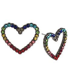 Hematite-Tone Multicolor Pavé Open Heart Stud Earrings