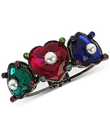 Hematite-Tone Multicolor Stone & Imitation Pearl Heart Bangle Bracelet