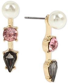 Gold-Tone Crystal & Imitation Pearl Front-and-Back Earrings