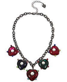 """Hematite-Tone Multicolor Crystal & Imitation Pearl Heart Statement Necklace, 16"""" + 3"""" extender"""