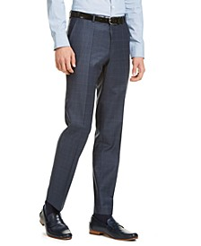 Men's Slim-Fit Dark Blue/Rust Plaid Suit Pants