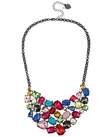 "Hematite-Tone Multicolor Crystal & Imitation Pearl Statement Necklace, 16"" + 3"" extender"