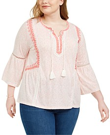 Plus Size Crochet-Trim Bell-Sleeve Peasant Top, Created for Macy's