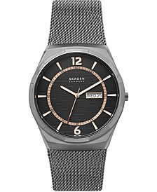 Men's Melbye Gunmetal Stainless Steel Mesh Bracelet Watch 45mm