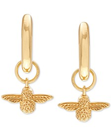 "Small Bee Dangle Hoop Earrings, .62"""