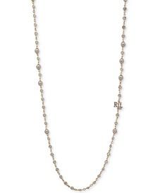 "Hematite-Tone Pavé & Imitation Pearl Logo Charm 42"" Strand Necklace"