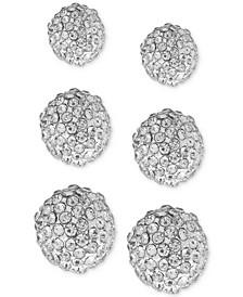 3-Pc. Set Pavé Fireball Stud Earrings