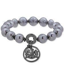 Hematite-Tone Crystal & Imitation Pearl Crest Charm Stretch Bracelet