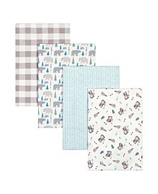 Bear Print Flannel Receiving Blanket 4-Pack