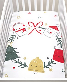 Jolly Wreath Flannel Photo Op Crib Sheet