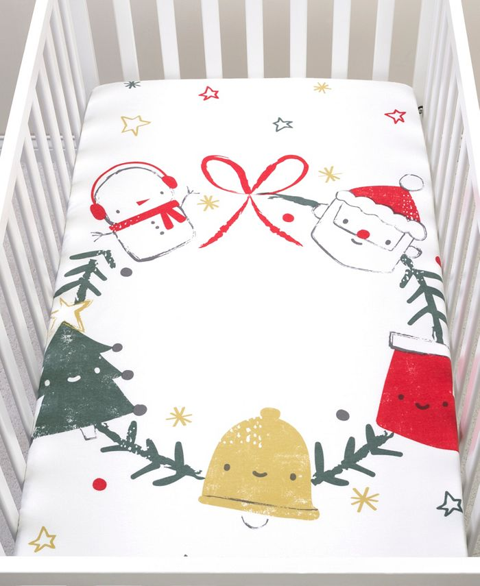 Trend Lab - Jolly Wreath Flannel Photo Op Fitted Crib Sheet
