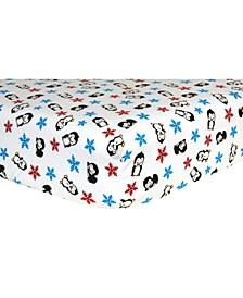 Penguin Flannel Crib Sheet