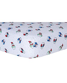 Snowman Print Flannel Fitted Crib Sheet