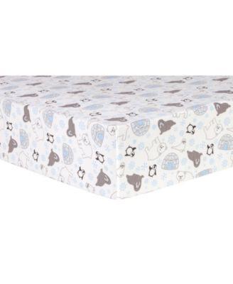 Igloo Friends Flannel Crib Sheet
