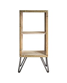 American Art Decor Rustic Wood Two Shelf End Table