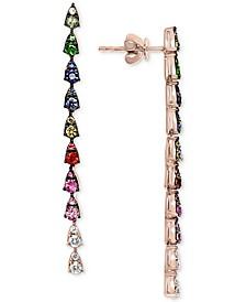 EFFY® Multi-Gemstone (1 ct. t.w.) & Diamond (1/6 ct.t.w.) Linear Drop Earrings in 14k Rose Gold