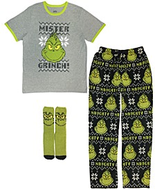 3 Pieces Men's Pajama Set, Online Only