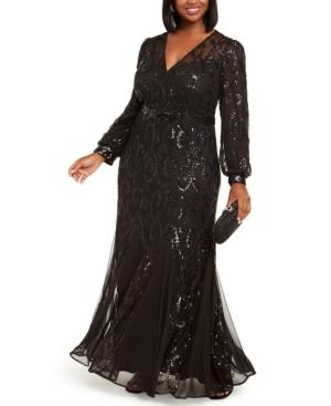 70s Plus Size Costumes | Hippie, Disco R  M Richards Plus Size Surplice Sequined Gown $169.00 AT vintagedancer.com