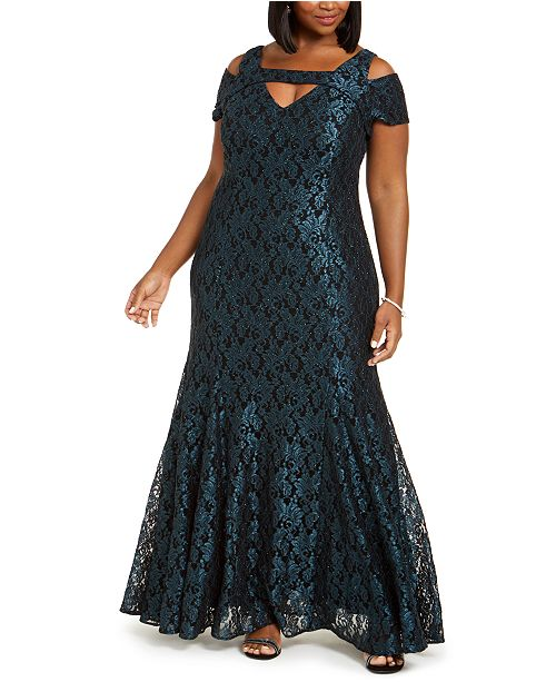 Nightway Plus Size Cold-Shoulder Lace Mermaid Gown