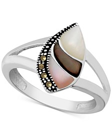 Genuine Swarovski Marcasite & Multi-Shell Ring in Fine Silver-Plate
