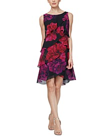 Tiered Floral-Print Sheath Dress