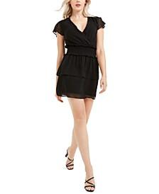 Smocked Flutter-Sleeve Dress