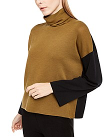 Wool Colorblocked Turtleneck Sweater, Regular & Petite Sizes