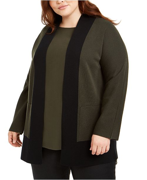 Eileen Fisher Plus Size Wool Colorblocked Open-Front Cardigan