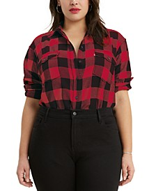 Trendy Plus Size Plaid Flannel Shirt