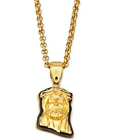 "Men's Two-Tone Jesus 24"" Pendant Necklace in Yellow & Black Ion-Plated Stainless Steel"