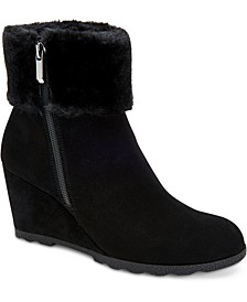 Women's Step 'N Flex Oreena Faux-Fur-Cuff Wedge Booties, Created for Macy's