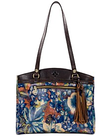 Blue Clay Poppy Leather Tote
