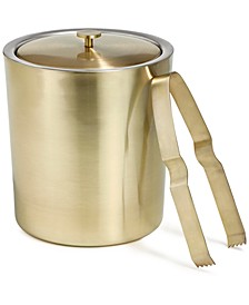 Gold-Tone Ice Bucket with Tongs, Created for Macy's