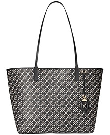 로렌 랄프로렌 Lauren Ralph Lauren Leather Medium Collins Tote,Black Logo/Gold