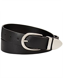 Flat Strap Leather Belt With Metal Tip