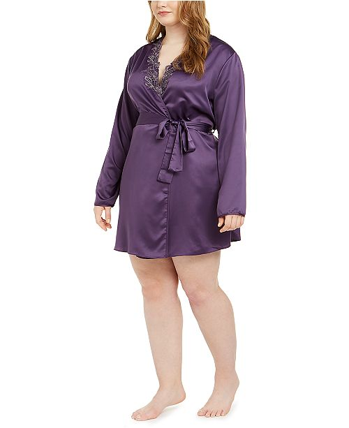Flora by Flora Nikrooz Plus Size Lace-Trim Wrap Robe