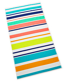 Martha Stewart Collection Multi Stripe Beach Towel, Created for Macy's