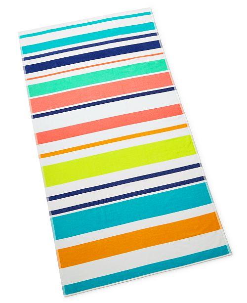 Martha Stewart Collection Multi Stripe Beach Towel, Created for Macy's