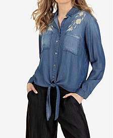 Knot Front Denim Shirt