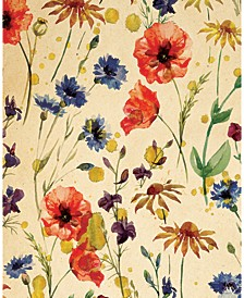 "Wall of Flowers Watercolor on Light Yellow 36"" x 24"" Canvas Wall Art Print"
