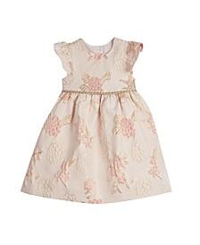 Little and Toddler Girls London Flutter Sleeve Brocade Holiday Dress