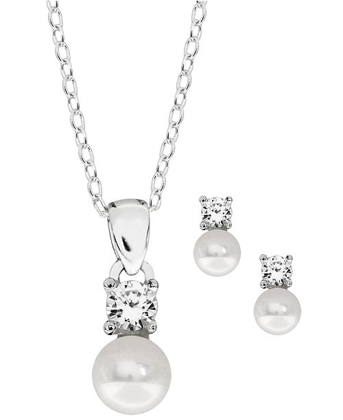 Rhona Sutton Children's Freshwater Pearl and Cubic Zirconia Earring Pendant Necklace Set in Sterling Silver