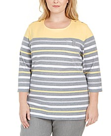 Plus Size Striped Button-Trim Top, Created For Macy's