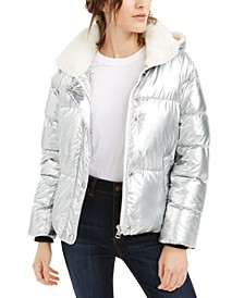 Hooded Faux-Fur-Collar Metallic Puffer Jacket